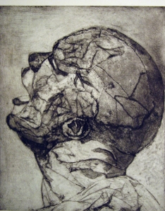 Tor Hildyard  Head II collagraph