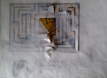 Do You Remember, Dawn Harris 52cm x 43cm Charcoal and Gold Leaf on Kozo paper