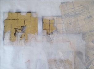 The Rest is Silence I. Dawn Harris 52cm x 43cm Charcoal and Gold Leaf on Kozo paper